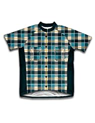 Blue Plaid Shirt Short Sleeve Cycling Jersey for Women