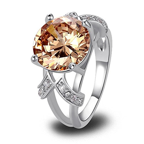 Psiroy Women's 925 Sterling Silver 6.5ct Morganite Filled Ring (Natural Sapphire Stone compare prices)