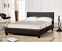 King Size Chocolate Brown Bed Frame 5FT Faux Leather - Prado by Total Furnishing