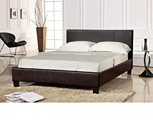 3ft Single Faux Leather Bed Frame in Black Prado by WorldStores