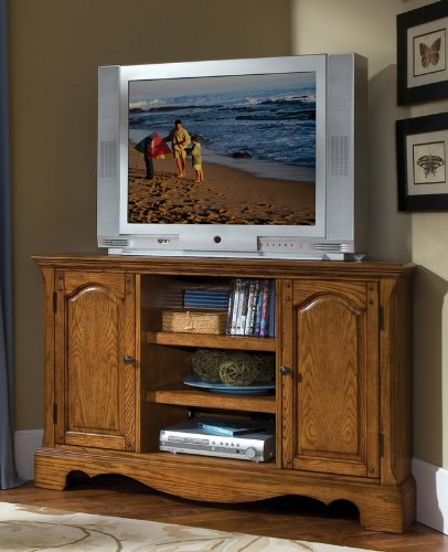 Image of Corner TV Stand with Cabinets in Oak Finish (VF_HY-5538-07)