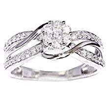 buy 10K White Gold Bridal Wedding Ring 1/2Cttw 8Mm Wide Split Shoulder