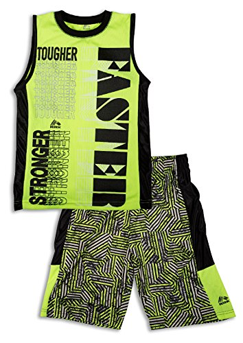 RBX Active Boy's 2 Piece Printed Tank Top and Basketball Short Set Large Pink