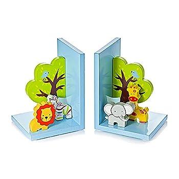 Kids Safari Themed Bookends for Boys Girls Bedroom or Nursery