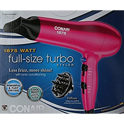Conair 1875 Watt Full Size Ionic Conditioning Hair Dryer, Pink