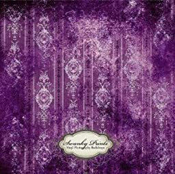 Swanky Prints EL-AWGQ-4198 4\' x 4\' Purple Vintage Wallpaper Vinyl Photography Backdrop