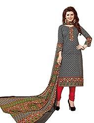 PADMiNi Ethnicwear Women's Dress Material Grey 1002