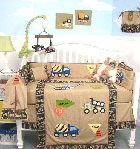 SoHo Camouflage Trucks Baby Crib Nursery Bedding Set 13 pcs included Diaper Bag with Changing Pad & Bottle Case