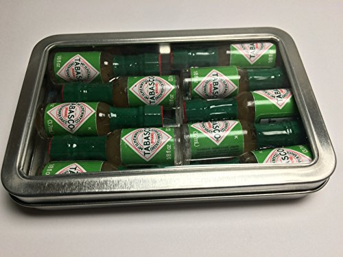 Miniature Tabasco Gift Tin. Ten 1/8 Ounce Mini Bottles of Hard to Find Green Jalapeno Tabasco Pepper Sauce in a Hinged Tin with a Clear See Through Top. (Tabasco Jalapeno Sauce compare prices)