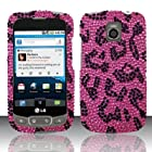 LG Optimus T P509 T-Mobile / LG Phoenix P505 AT&T / LG Thrive P506 AT&T Case Rich Leopard Design Hard Flashy Crystal Stones Diamond Cover Protector () with Free Car Charger + Gift Box By Tech Accessories