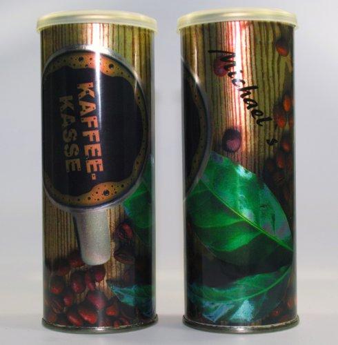 """Spardose """"Kaffeekasse"""" - Indiviualisierbar mit Namen in zwei Schriftarten - Slim Design"""