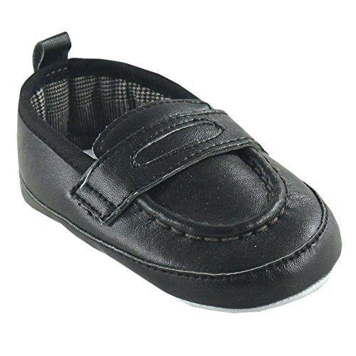 Luvable Friends Boy's Slip-on Shoe (Infant), Black, 0-6 Months M US Infant