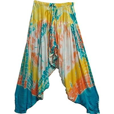 Indian Bohemian Gypsy Hippie Meditation Yoga Gauze Tie-Dye Harem Pants #8