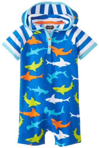 Mud Pie Baby-Boys Infant Shark Hooded Coverall, Blue, 12-18 Months front-1057752