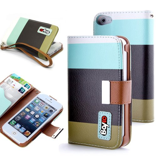 Bayke Brand Apple iPhone 4 4G 4S Fashion Designer Colorful PU Leather Wallet Case with Strap with Stand with Magnetic Clip with Credit Card Slots & Holder (Sky Blue+Black+Olivedrab) at Amazon.com
