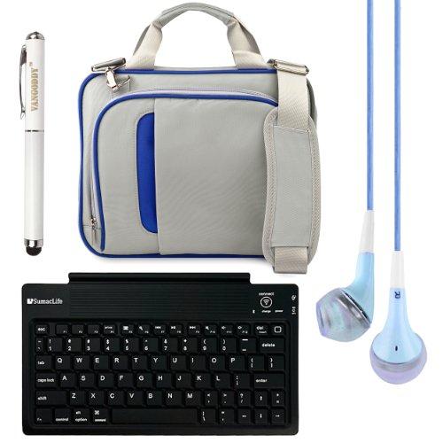 "Pinn Messenger Bag For Hannspree T7 Series 10.1"" Tablet + Bluetooth Keyboard + Vg Stylus Pen + Blue Vangoddy Headphones (Blue)"