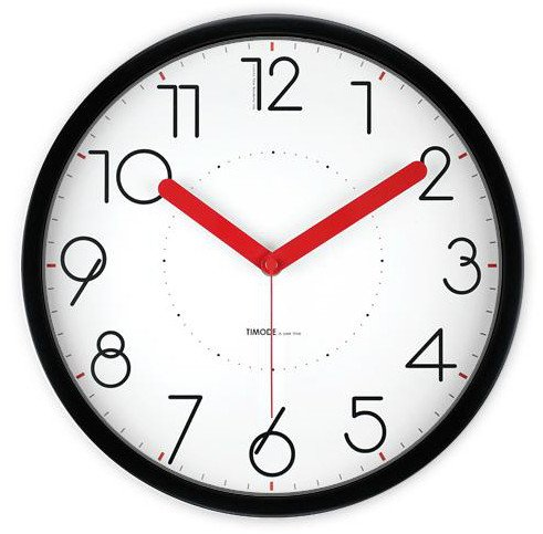 JustNile 12-inch Non Ticking Silent Wall Clock - Modern Black Frame with Red Clock Hands