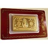 1 Oz 999 24k Gold Bar United States $1000 Bill Bar Clad in Red Assayer Card
