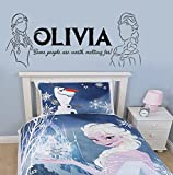 Frozen Disney Inspired Vinyl Wall Decal Personalized Anna Elsa Worth Melting for Sticker
