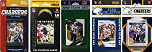 NFL San Diego Chargers Five Different Licensed Trading Card Team Sets by C&I Collectables