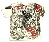絡繰魂 Tシャツ 阿吽像と鯉 和柄 メンズ 半袖tee 212670 オフ白 (L)