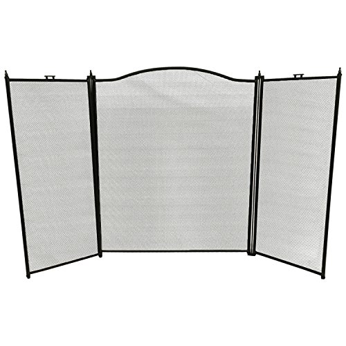 Amagabeli 3 Panel Wrought Iron Fireplace Screen Baby Safe Proof Outdoor Large Metal Decorative