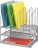 DecoBros Mesh Desk Organizer with Double Tray and 5 Upright Sections, Sliver
