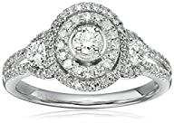 14k White Gold Diamond 3-Stone Double Frame Engagement Ring (3/4cttw, H-I Color, I1-I2 Clarity),…
