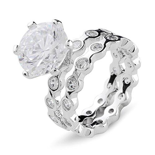 Aiyaya 6 Prong Cushion Cut AAA+ Cubic Zirconia Couple Rings For Womens Sz7