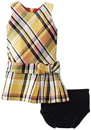 Hartstrings Baby Girls' Dress Set with Diaper Cover, Yellow Plaid, 12 Months