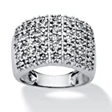 PalmBeach Jewelry 1/5 TCW Round Diamond Platinum over Sterling Silver Pave Cluster Ring