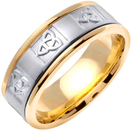 18K Two Tone Gold Celtic Trinity Knot Men'S Wedding Band (8Mm) Size-9