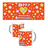 ToduGift Happy 25th wedding anniversary mug