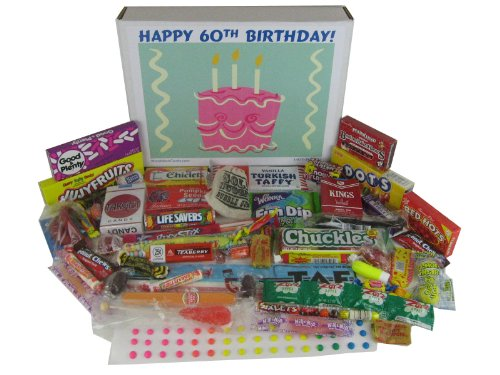 Happy 60th Birthday Party Celebration Ideas Gift Basket Box Of Retro Candy