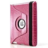 360 Degrees Rotating Stand (Pink Crocodile) Leather Smart Cover Case for Apple iPad 2