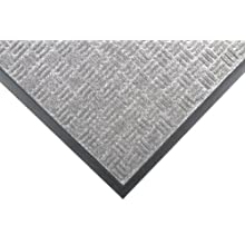 "Notrax 167 Portrait Entrance Mat, for Lobbies and Indoor Entranceways, 3' Width x 5' Length x 1/4"" Thickness, Gray"