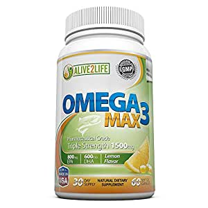 Best Omega-3 Fish Oil Supplements | Top Quality Omega 3 Fatty Acids Pills For Max Fish Oil Health Benefits - 60 High Dosage, Molecularly Distilled, Burpless 1500mg Soft Gel Capsules Per Bottle (1 Month Supply) - Good Omega 3 Source With 600mg DHA & 800mg EPA In Every Serving *BONUS* FREE eBook From Alive2Life (Valued At $14.97) ...