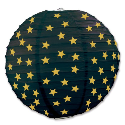 Beistle 3-Pack Star Paper Lanterns, 91/2-Inch, Black and Gold