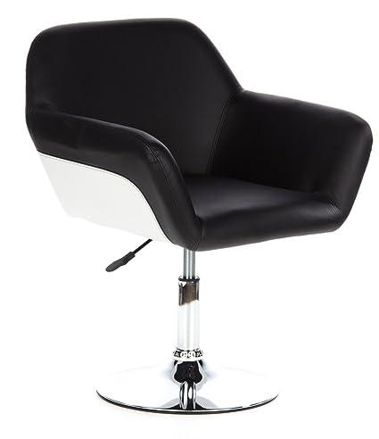hjh OFFICE 685940 sillón de diseño CORNER piel sintética negro, muy cómodo, cromado, negro blanco, ajuste de altura, fácil de limpiar, elegante, buen acolchado, alto confort, silla diseño, silla giratoria, lounge