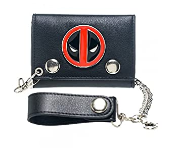 Amazon.com: Black Deadpool Trifold Chain Wallet with Metal Badge