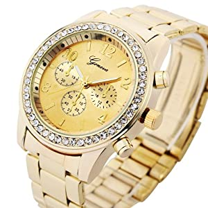 Geneva Platinum 9073 Women's Decorative Chronograph Rhinestone-accented Watch