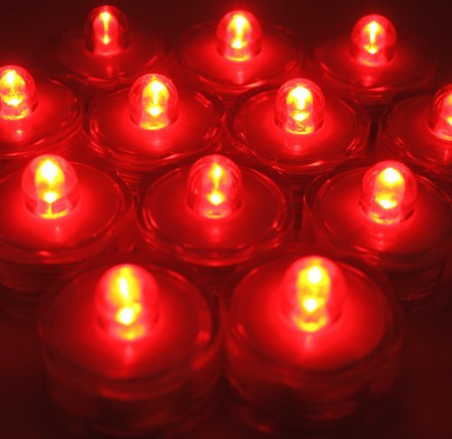 Bluedot Trading Submersible Tea Lights, Red, 36-Pack