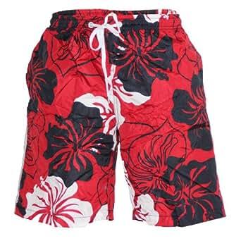 Waooh - Short De Bain Motif Fleurs Style Hawaïen Parker (S, ROUGE)