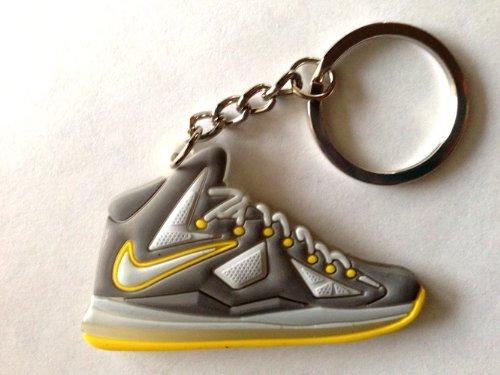 Lebron 10/X Canary Grey/Yellow Diamond Miami Heat King James Sneakers Shoes Keychain Keyring Aj 23 Retro Air Jordan