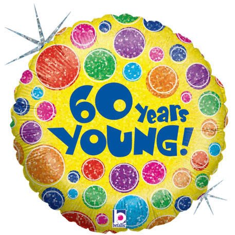 "18"" 60 Years Young Holographic Foil Balloon (1 per package)"