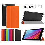 【Asng】HUAWEI MediaPad T1 7.0LTE専用保護ケース 超薄型 最軽量 マグネット式 オートスリップ (HDクリア保護フィルム1枚付き) (オレンジ)