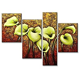Neron Art - Flowers Green Lilies Floral Oil Paintings Set of 4 Panels on Gallery Wrapped Canvas 49X35 inch (124X89 cm)