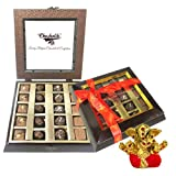 Chocholik Belgium Gifts - Assorted Chocolates With Beautiful Wooden Box With Small Ganesha Idol - Diwali Gifts