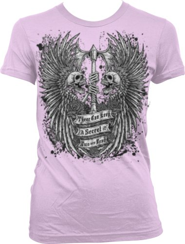 Three Can Keep A Secret If Two Are Dead Juniors T-Shirt, Skulls And Wings Holding Axe Gothic Tattoo Style Design Juniors Shirt, X-Large, Pink