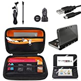 EEEKit for Nintendo 3DS LL / XL Travel Accessories Kit, Carrying Bag,Clear Cover Case, Charging Cable, Car Charger, Stylus, Screen Protector, Earphone